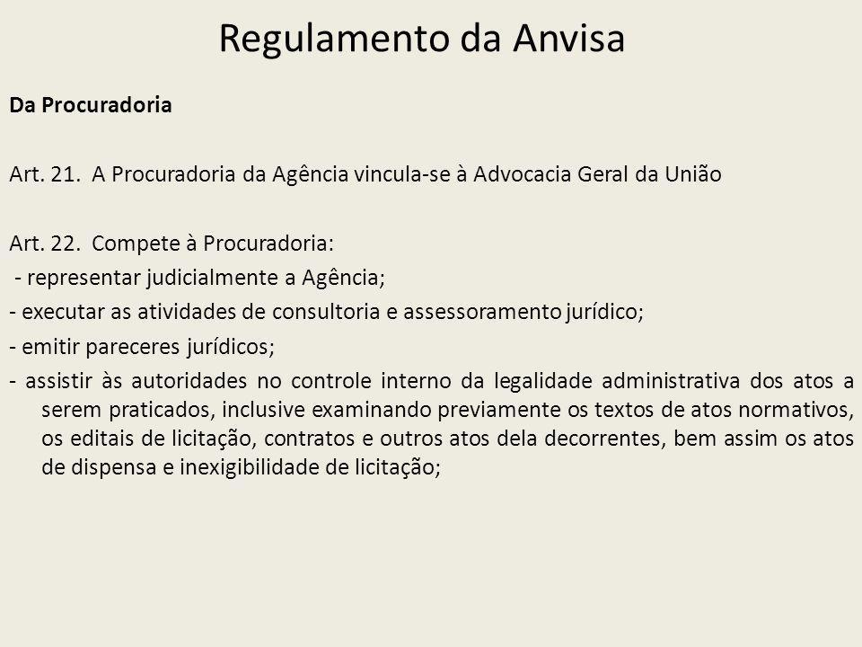 Regulamento da Anvisa Da Procuradoria Art. 21. A Procuradoria da Agência vincula-se à Advocacia Geral da União Art. 22. Compete à Procuradoria: - repr
