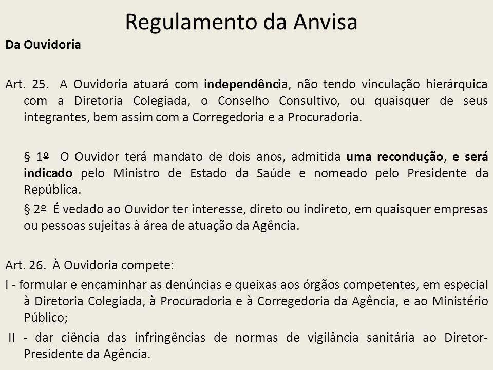 Regulamento da Anvisa Da Ouvidoria Art. 25. A Ouvidoria atuará com independência, não tendo vinculação hierárquica com a Diretoria Colegiada, o Consel