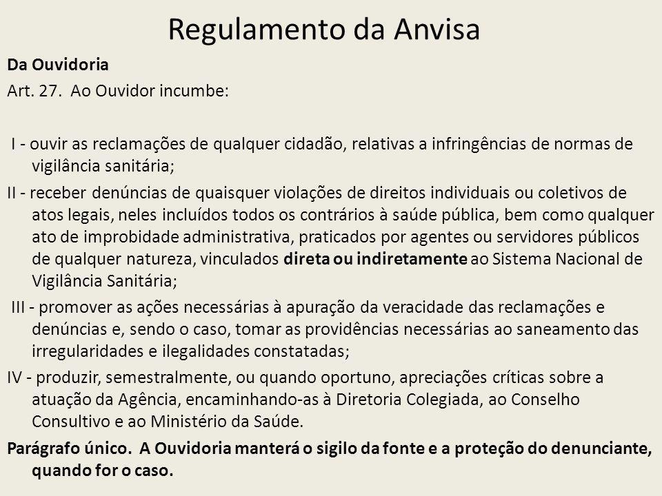Regulamento da Anvisa Da Ouvidoria Art. 27. Ao Ouvidor incumbe: I - ouvir as reclamações de qualquer cidadão, relativas a infringências de normas de v