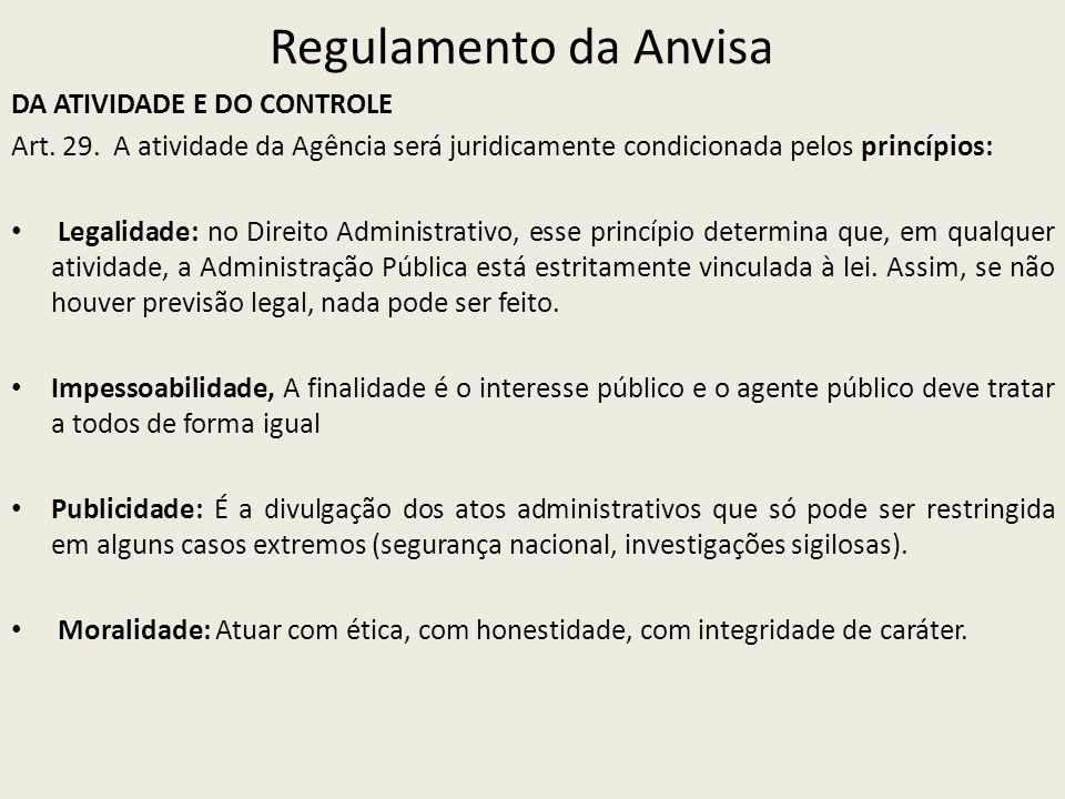Regulamento da Anvisa DA ATIVIDADE E DO CONTROLE Art. 29. A atividade da Agência será juridicamente condicionada pelos princípios: Legalidade: no Dire