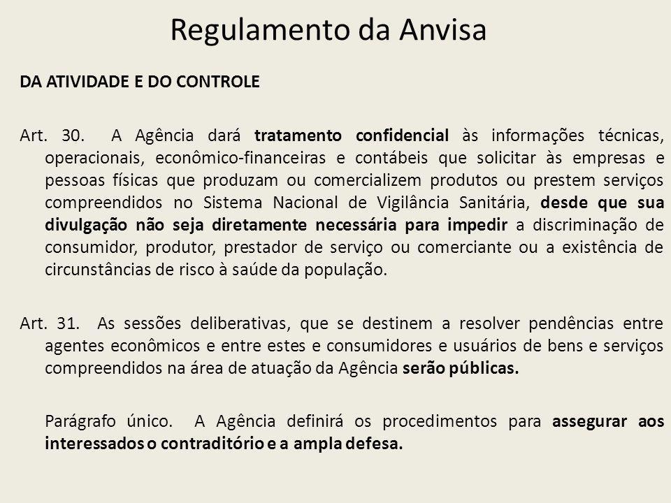 Regulamento da Anvisa DA ATIVIDADE E DO CONTROLE Art. 30. A Agência dará tratamento confidencial às informações técnicas, operacionais, econômico-fina