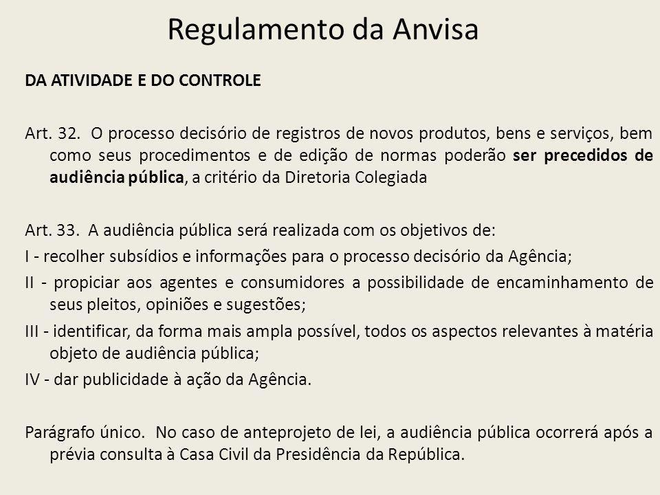 Regulamento da Anvisa DA ATIVIDADE E DO CONTROLE Art. 32. O processo decisório de registros de novos produtos, bens e serviços, bem como seus procedim