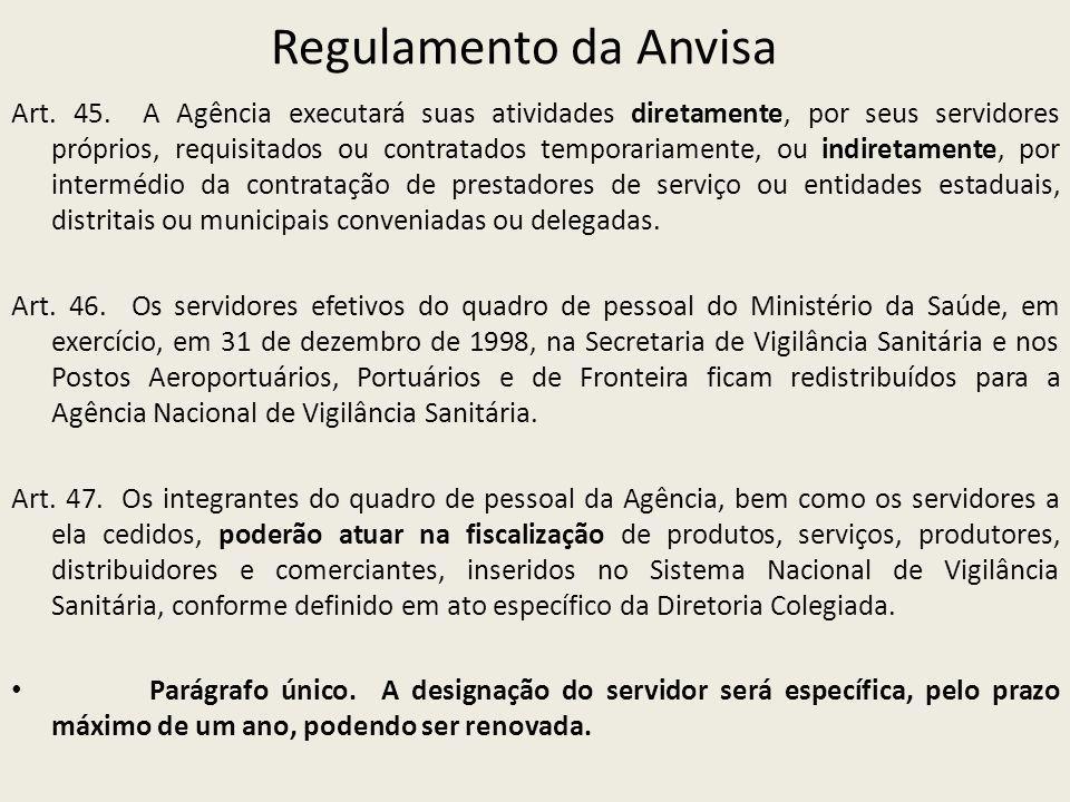 Regulamento da Anvisa Art. 45. A Agência executará suas atividades diretamente, por seus servidores próprios, requisitados ou contratados temporariame