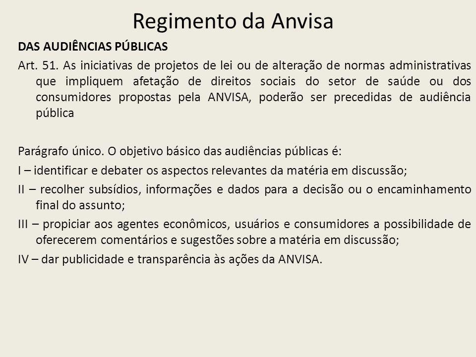 Regimento da Anvisa DAS AUDIÊNCIAS PÚBLICAS Art. 51. As iniciativas de projetos de lei ou de alteração de normas administrativas que impliquem afetaçã