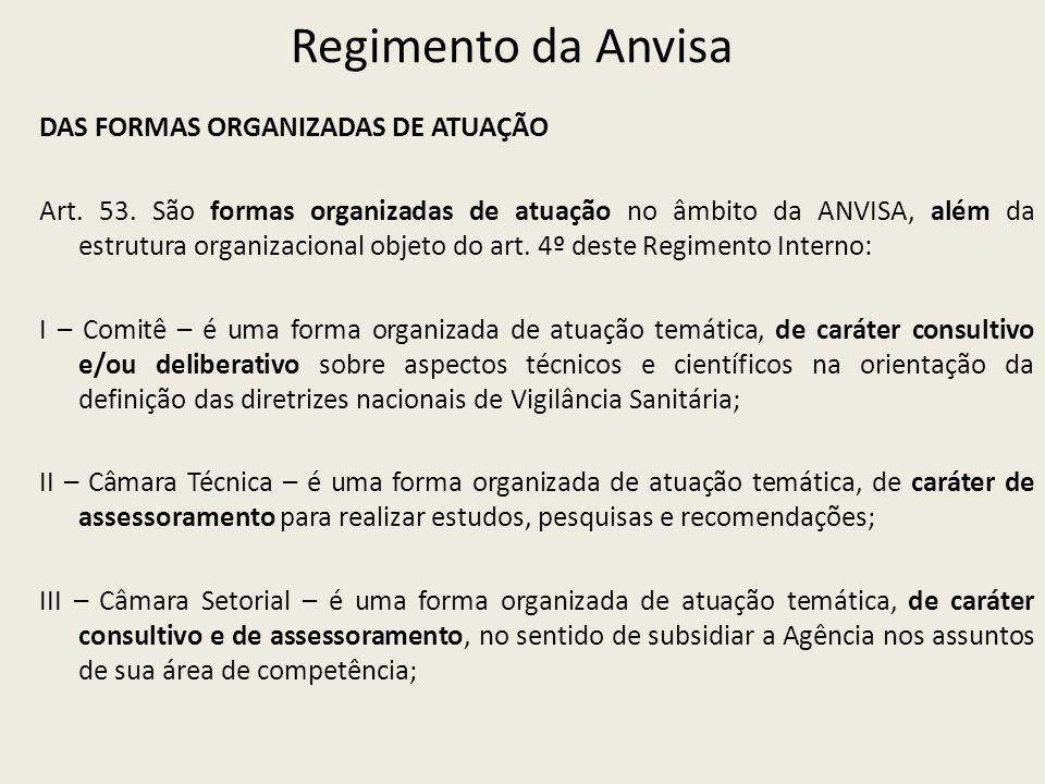 Regimento da Anvisa DAS FORMAS ORGANIZADAS DE ATUAÇÃO Art. 53. São formas organizadas de atuação no âmbito da ANVISA, além da estrutura organizacional