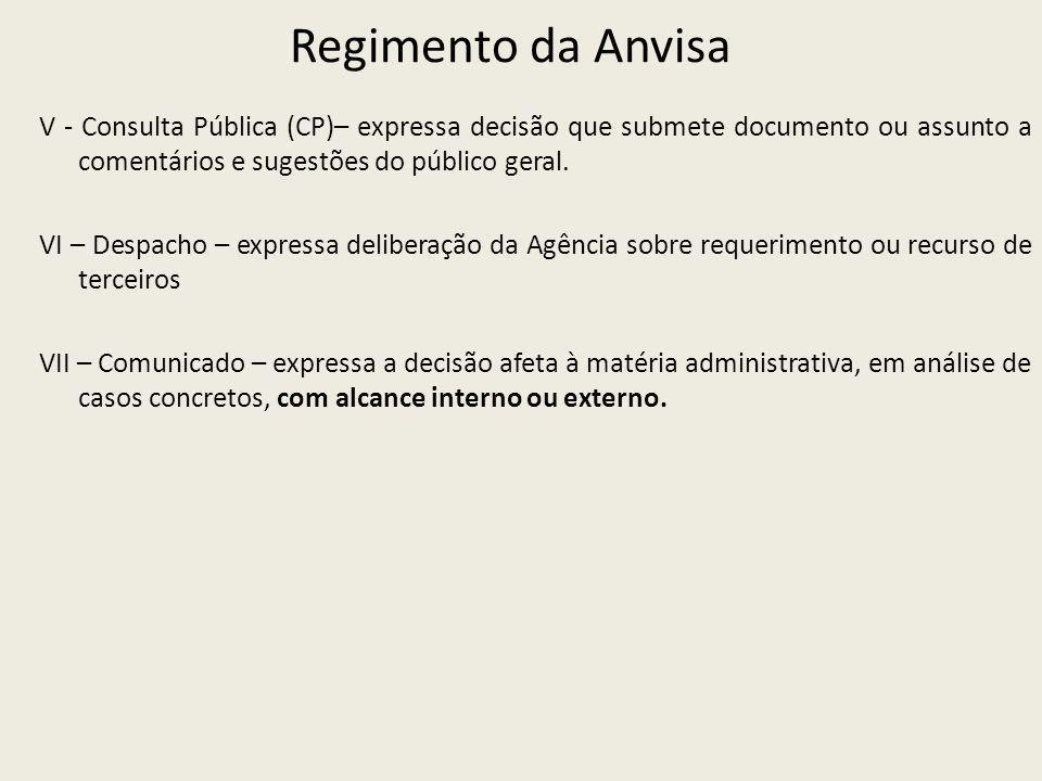 Regimento da Anvisa V - Consulta Pública (CP)– expressa decisão que submete documento ou assunto a comentários e sugestões do público geral.