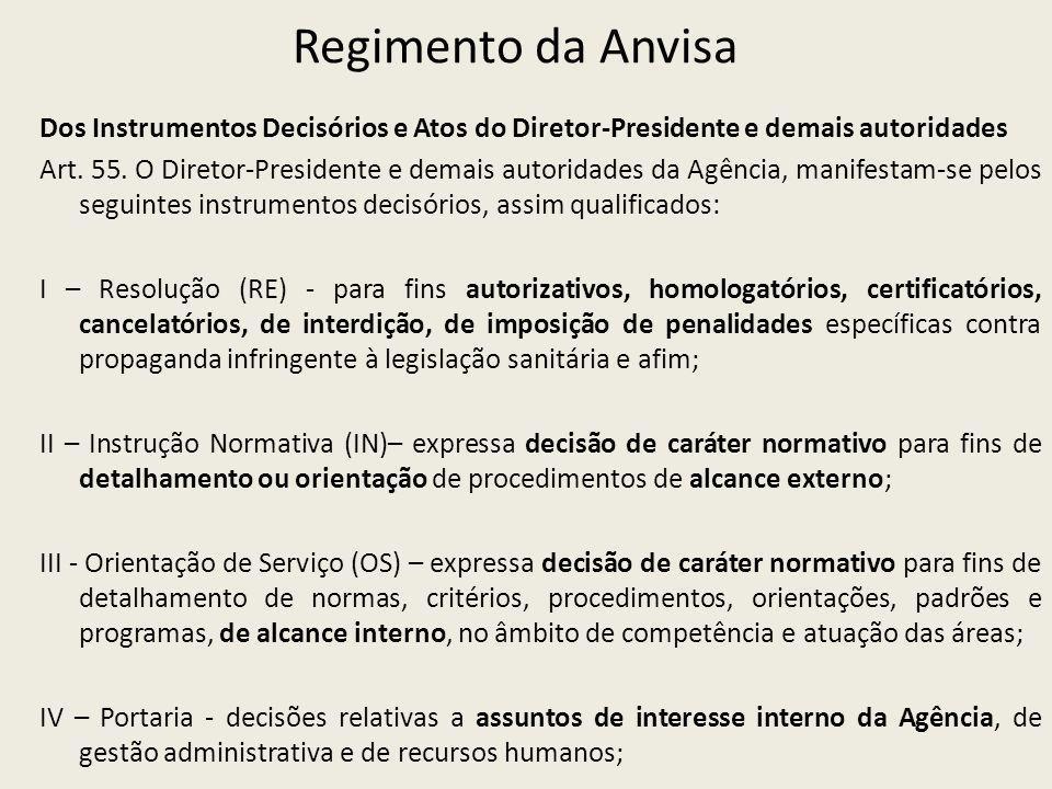Regimento da Anvisa Dos Instrumentos Decisórios e Atos do Diretor-Presidente e demais autoridades Art. 55. O Diretor-Presidente e demais autoridades d