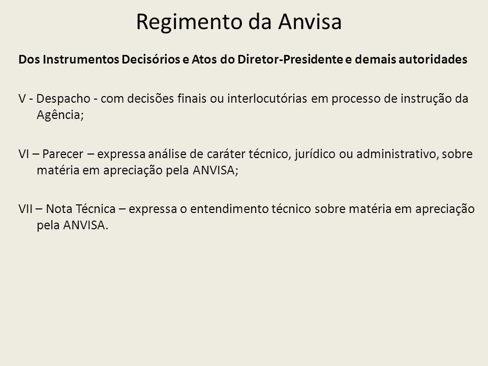 Regimento da Anvisa Dos Instrumentos Decisórios e Atos do Diretor-Presidente e demais autoridades V - Despacho - com decisões finais ou interlocutória