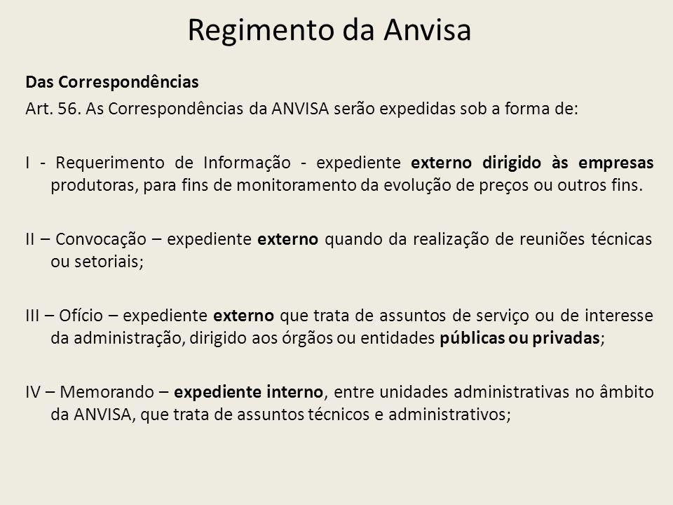 Regimento da Anvisa Das Correspondências Art. 56. As Correspondências da ANVISA serão expedidas sob a forma de: I - Requerimento de Informação - exped