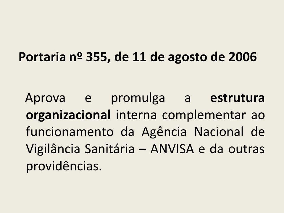 Portaria nº 355, de 11 de agosto de 2006 Aprova e promulga a estrutura organizacional interna complementar ao funcionamento da Agência Nacional de Vigilância Sanitária – ANVISA e da outras providências.