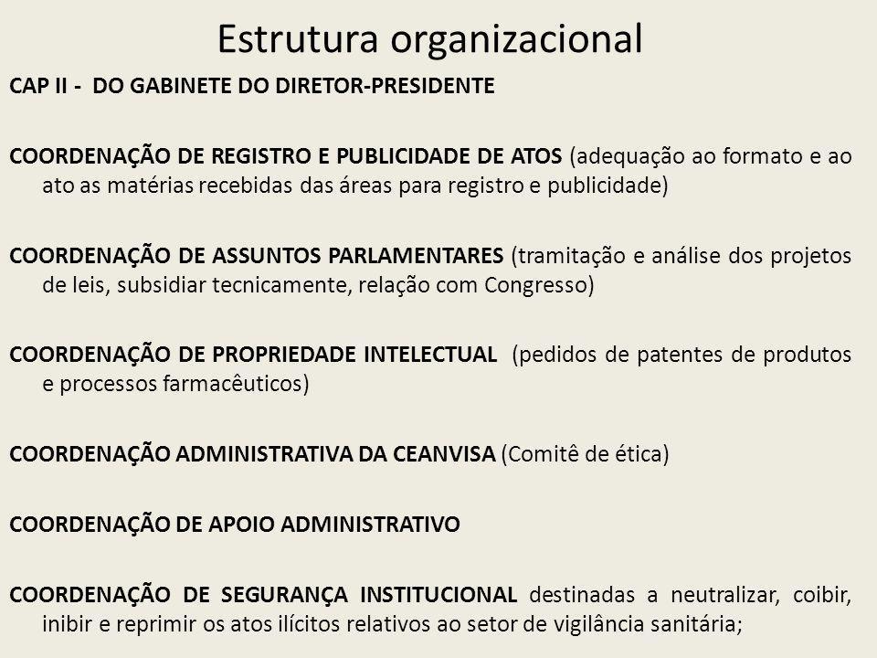 Estrutura organizacional CAP II - DO GABINETE DO DIRETOR-PRESIDENTE COORDENAÇÃO DE REGISTRO E PUBLICIDADE DE ATOS (adequação ao formato e ao ato as matérias recebidas das áreas para registro e publicidade) COORDENAÇÃO DE ASSUNTOS PARLAMENTARES (tramitação e análise dos projetos de leis, subsidiar tecnicamente, relação com Congresso) COORDENAÇÃO DE PROPRIEDADE INTELECTUAL (pedidos de patentes de produtos e processos farmacêuticos) COORDENAÇÃO ADMINISTRATIVA DA CEANVISA (Comitê de ética) COORDENAÇÃO DE APOIO ADMINISTRATIVO COORDENAÇÃO DE SEGURANÇA INSTITUCIONAL destinadas a neutralizar, coibir, inibir e reprimir os atos ilícitos relativos ao setor de vigilância sanitária;