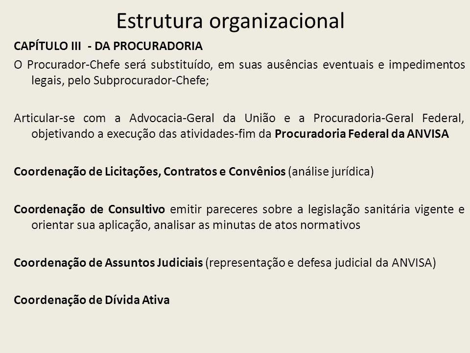 Estrutura organizacional CAPÍTULO III - DA PROCURADORIA O Procurador-Chefe será substituído, em suas ausências eventuais e impedimentos legais, pelo S