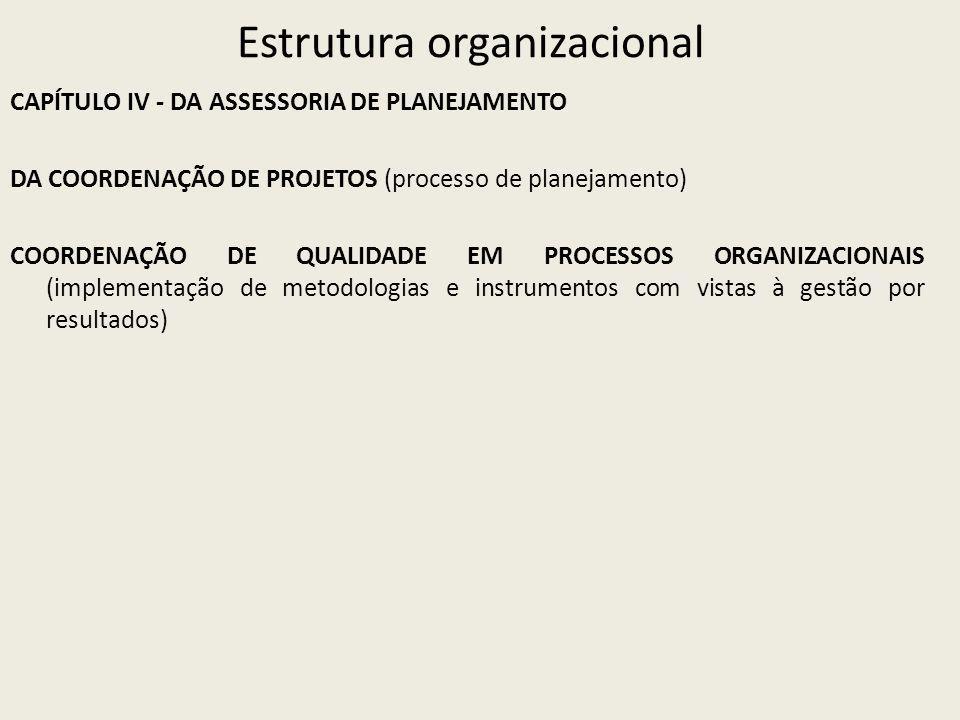 Estrutura organizacional CAPÍTULO IV - DA ASSESSORIA DE PLANEJAMENTO DA COORDENAÇÃO DE PROJETOS (processo de planejamento) COORDENAÇÃO DE QUALIDADE EM PROCESSOS ORGANIZACIONAIS (implementação de metodologias e instrumentos com vistas à gestão por resultados)