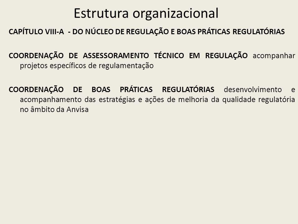 Estrutura organizacional CAPÍTULO VIII-A - DO NÚCLEO DE REGULAÇÃO E BOAS PRÁTICAS REGULATÓRIAS COORDENAÇÃO DE ASSESSORAMENTO TÉCNICO EM REGULAÇÃO acompanhar projetos específicos de regulamentação COORDENAÇÃO DE BOAS PRÁTICAS REGULATÓRIAS desenvolvimento e acompanhamento das estratégias e ações de melhoria da qualidade regulatória no âmbito da Anvisa