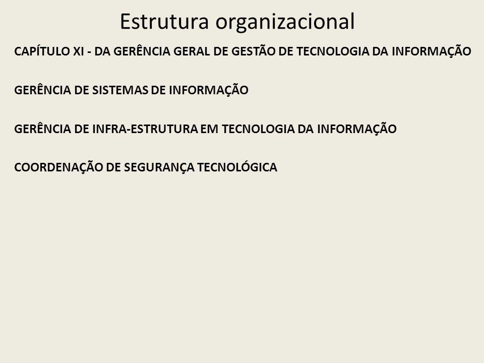 Estrutura organizacional CAPÍTULO XI - DA GERÊNCIA GERAL DE GESTÃO DE TECNOLOGIA DA INFORMAÇÃO GERÊNCIA DE SISTEMAS DE INFORMAÇÃO GERÊNCIA DE INFRA-ESTRUTURA EM TECNOLOGIA DA INFORMAÇÃO COORDENAÇÃO DE SEGURANÇA TECNOLÓGICA