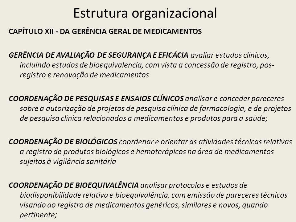 Estrutura organizacional CAPÍTULO XII - DA GERÊNCIA GERAL DE MEDICAMENTOS GERÊNCIA DE AVALIAÇÃO DE SEGURANÇA E EFICÁCIA avaliar estudos clínicos, incluindo estudos de bioequivalencia, com vista a concessão de registro, pos- registro e renovação de medicamentos COORDENAÇÃO DE PESQUISAS E ENSAIOS CLÍNICOS analisar e conceder pareceres sobre a autorização de projetos de pesquisa clínica de farmacologia, e de projetos de pesquisa clínica relacionados a medicamentos e produtos para a saúde; COORDENAÇÃO DE BIOLÓGICOS coordenar e orientar as atividades técnicas relativas a registro de produtos biológicos e hemoterápicos na área de medicamentos sujeitos à vigilância sanitária COORDENAÇÃO DE BIOEQUIVALÊNCIA analisar protocolos e estudos de biodisponibilidade relativa e bioequivalência, com emissão de pareceres técnicos visando ao registro de medicamentos genéricos, similares e novos, quando pertinente;
