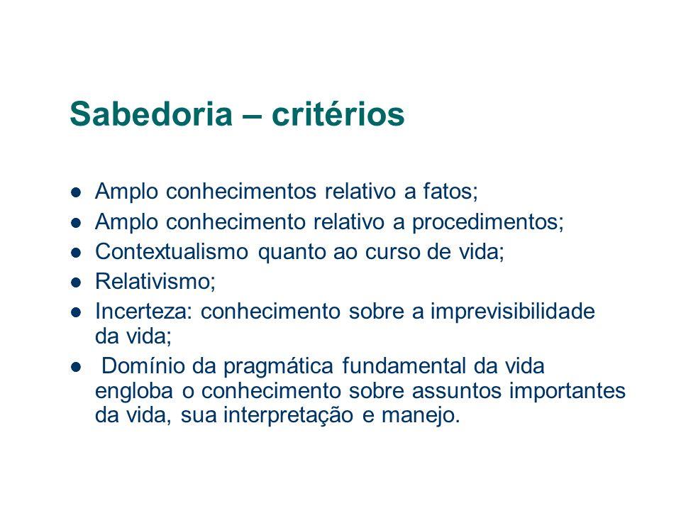 Sabedoria – critérios Amplo conhecimentos relativo a fatos; Amplo conhecimento relativo a procedimentos; Contextualismo quanto ao curso de vida; Relat