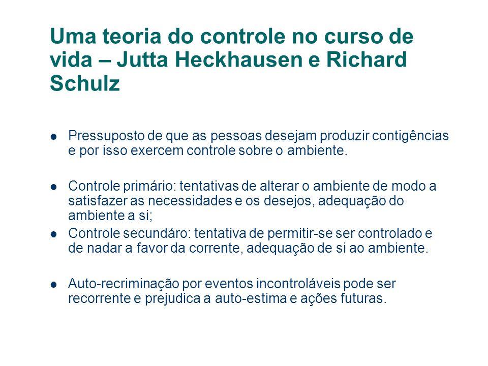 Uma teoria do controle no curso de vida – Jutta Heckhausen e Richard Schulz Pressuposto de que as pessoas desejam produzir contigências e por isso exe