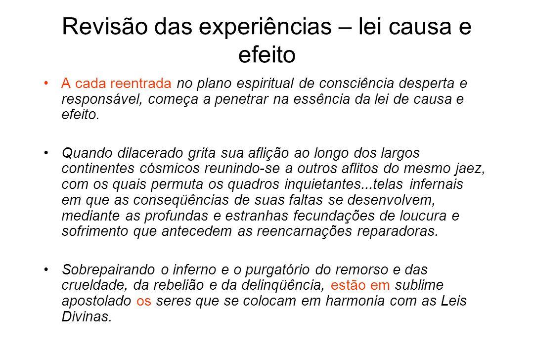Revisão das experiências – lei causa e efeito A cada reentrada no plano espiritual de consciência desperta e responsável, começa a penetrar na essênci