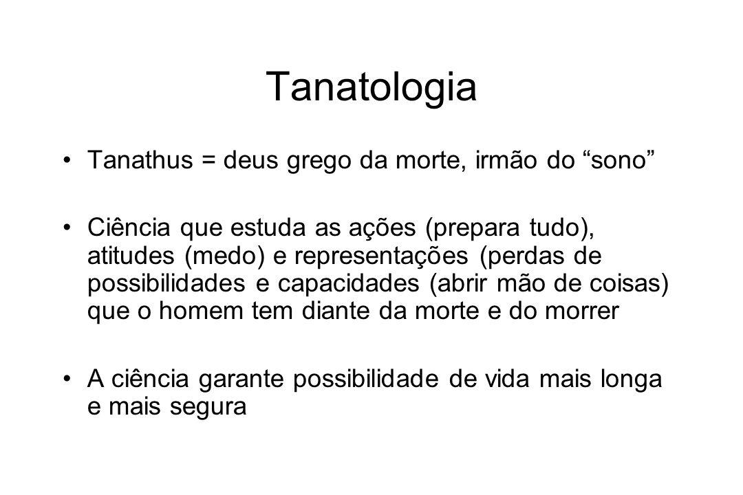 Tanatologia Tanathus = deus grego da morte, irmão do sono Ciência que estuda as ações (prepara tudo), atitudes (medo) e representações (perdas de poss