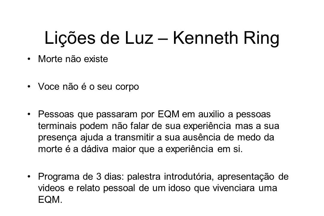 Lições de Luz – Kenneth Ring Morte não existe Voce não é o seu corpo Pessoas que passaram por EQM em auxilio a pessoas terminais podem não falar de su