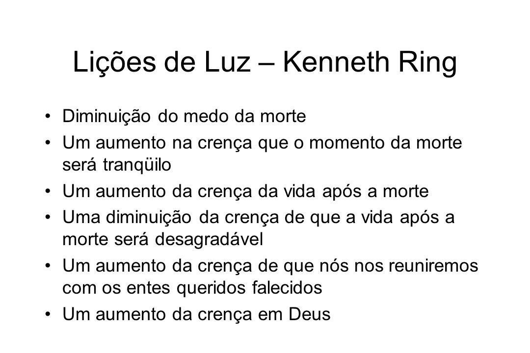 Lições de Luz – Kenneth Ring Diminuição do medo da morte Um aumento na crença que o momento da morte será tranqüilo Um aumento da crença da vida após