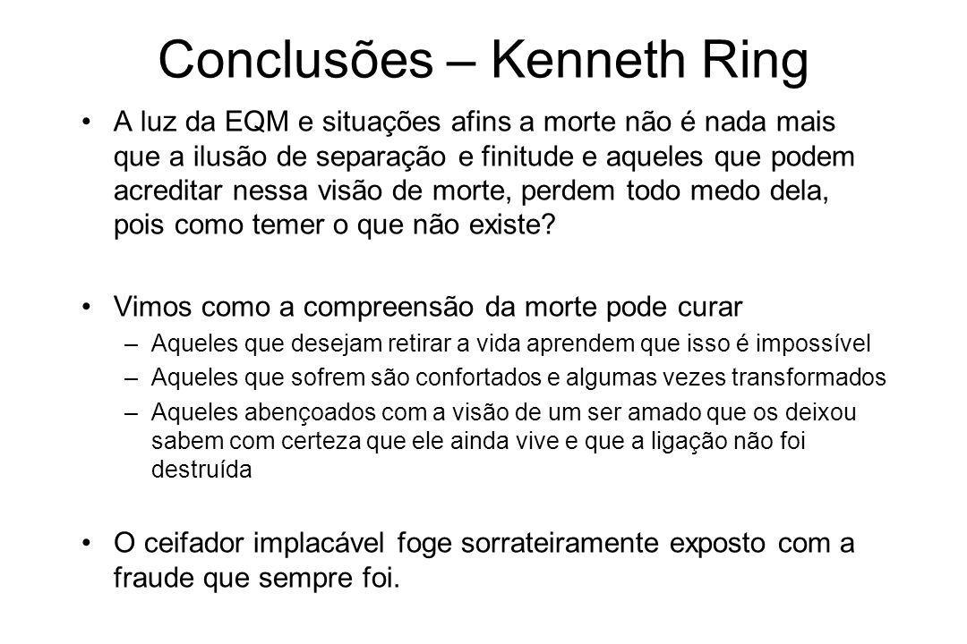 Conclusões – Kenneth Ring A luz da EQM e situações afins a morte não é nada mais que a ilusão de separação e finitude e aqueles que podem acreditar ne