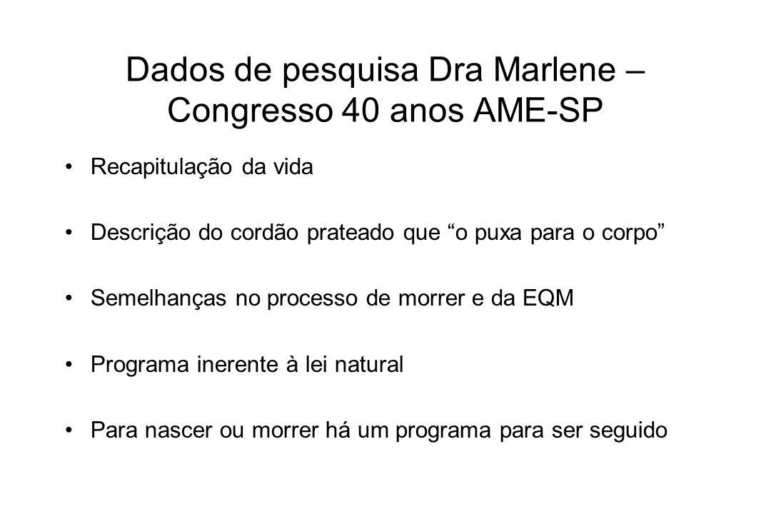 Dados de pesquisa Dra Marlene – Congresso 40 anos AME-SP Recapitulação da vida Descrição do cordão prateado que o puxa para o corpo Semelhanças no pro