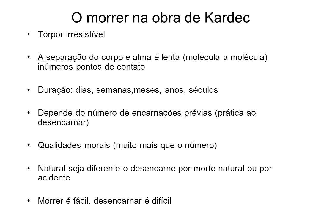 O morrer na obra de Kardec Torpor irresistível A separação do corpo e alma é lenta (molécula a molécula) inúmeros pontos de contato Duração: dias, sem