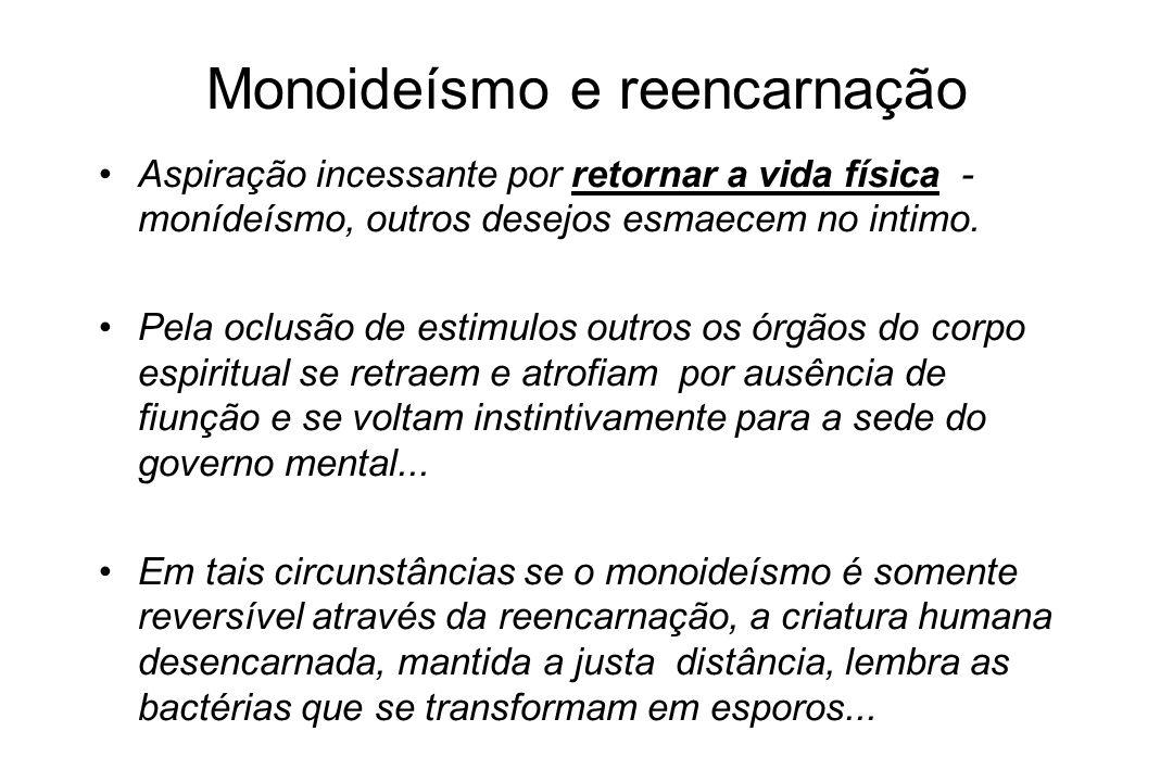 Monoideísmo e reencarnação Na atrofia das células que lhe tecem o corpo espiritual, por monoideísmo auto-hipnotizante, provocado pelo pensamento fixo-depressivo...