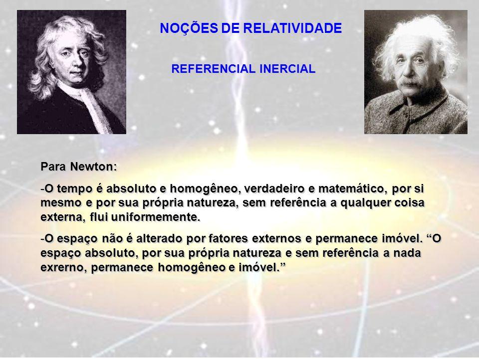 NOÇÕES DE RELATIVIDADE REFERENCIAL INERCIAL Para Newton: -O tempo é absoluto e homogêneo, verdadeiro e matemático, por si mesmo e por sua própria natu