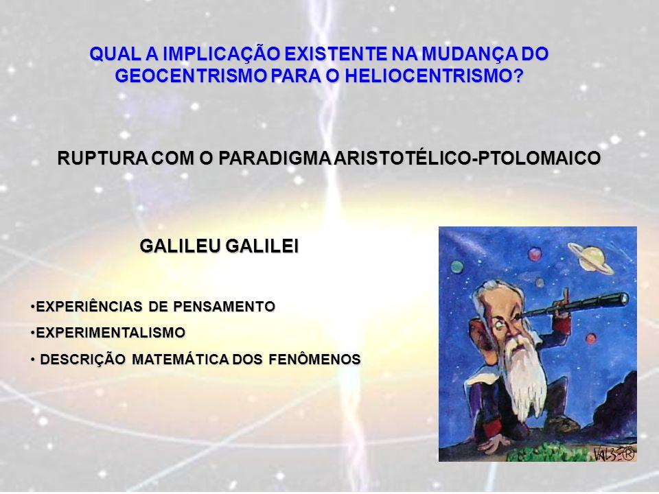 QUAL A IMPLICAÇÃO EXISTENTE NA MUDANÇA DO GEOCENTRISMO PARA O HELIOCENTRISMO? RUPTURA COM O PARADIGMA ARISTOTÉLICO-PTOLOMAICO GALILEU GALILEI EXPERIÊN