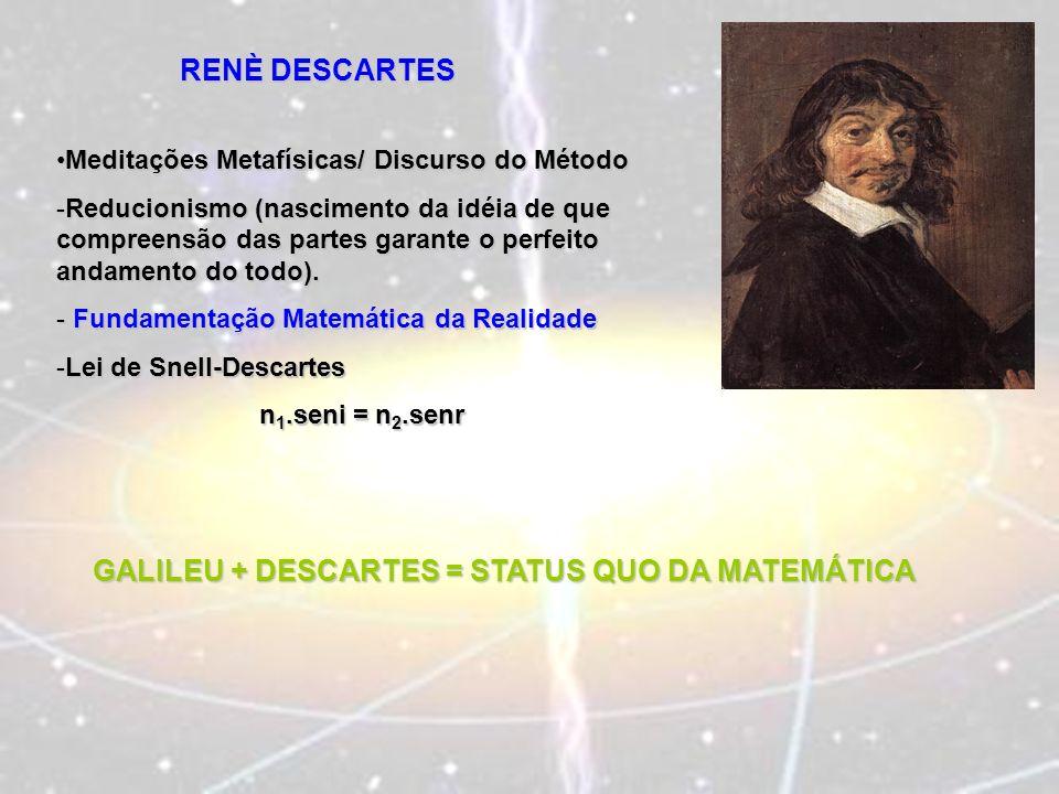 RENÈ DESCARTES Meditações Metafísicas/ Discurso do MétodoMeditações Metafísicas/ Discurso do Método -Reducionismo (nascimento da idéia de que compreen