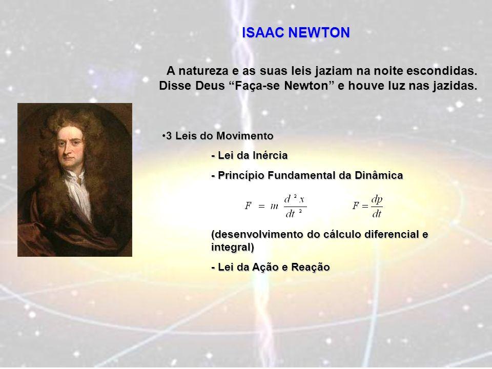 ISAAC NEWTON A natureza e as suas leis jaziam na noite escondidas. Disse Deus Faça-se Newton e houve luz nas jazidas. 3 Leis do Movimento3 Leis do Mov