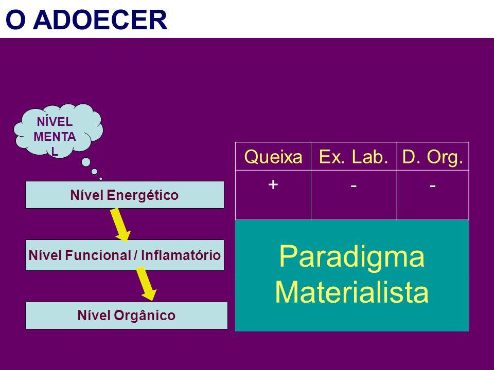 Nível Energético Nível Funcional / Inflamatório Nível Orgânico NÍVEL MENTA L QueixaEx. Lab.D. Org. +-- ++- +++ Paradigma Materialista O ADOECER