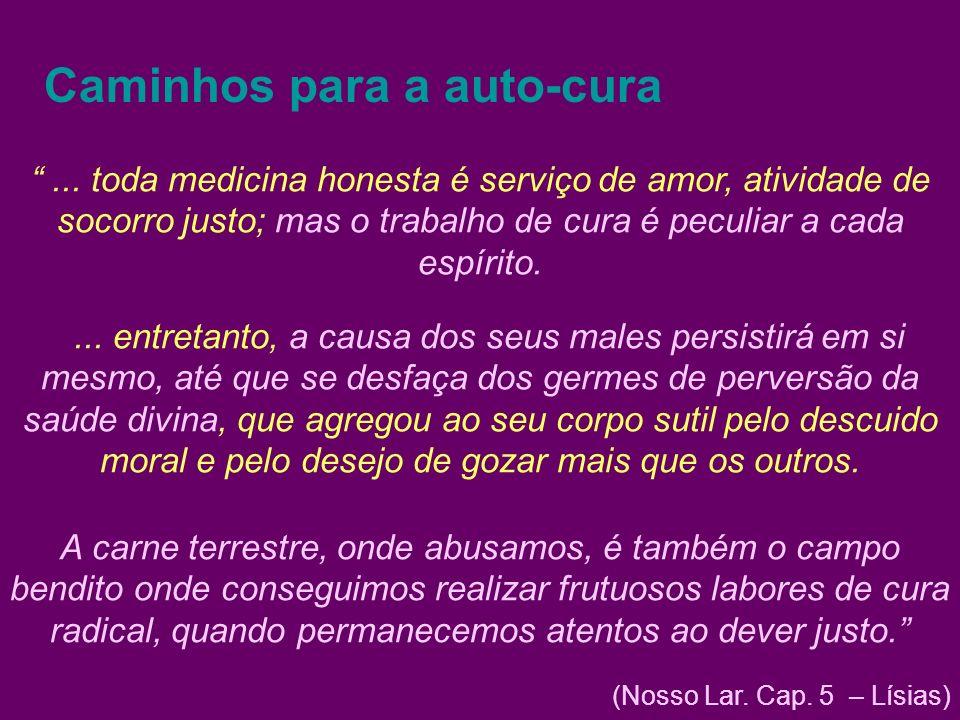 Caminhos para a auto-cura... toda medicina honesta é serviço de amor, atividade de socorro justo; mas o trabalho de cura é peculiar a cada espírito...