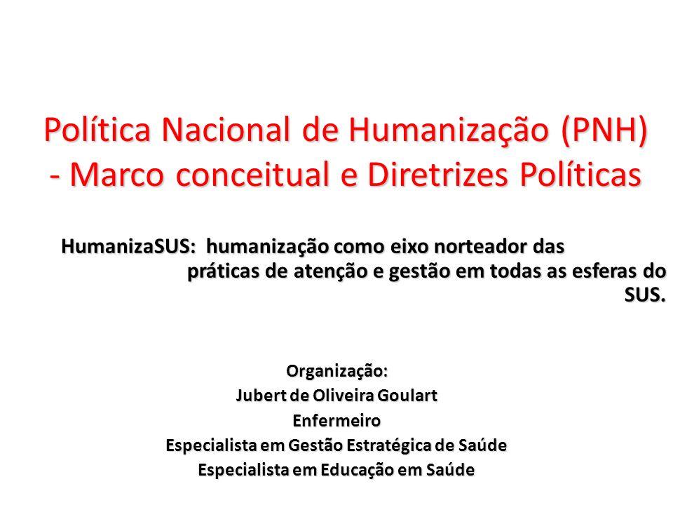 Política Nacional de Humanização (PNH) - Marco conceitual e Diretrizes Políticas HumanizaSUS: humanização como eixo norteador das práticas de atenção