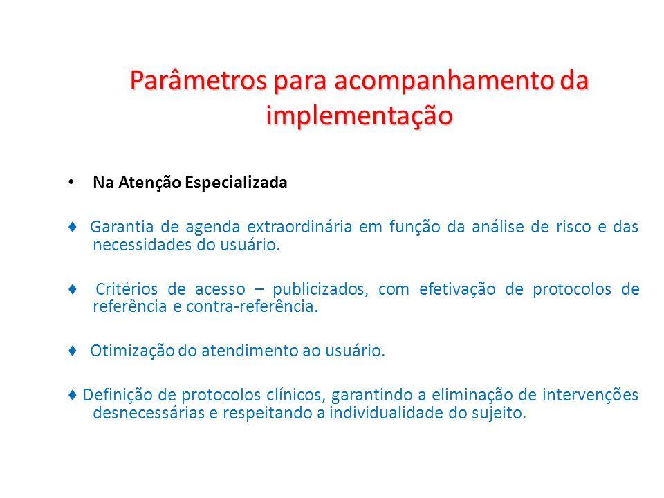 Parâmetros para acompanhamento da implementação Na Atenção Especializada Garantia de agenda extraordinária em função da análise de risco e das necessi