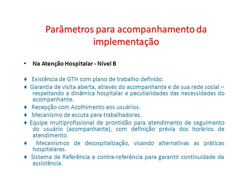 Parâmetros para acompanhamento da implementação Na Atenção Hospitalar - Nível B Existência de GTH com plano de trabalho definido. Garantia de visita a