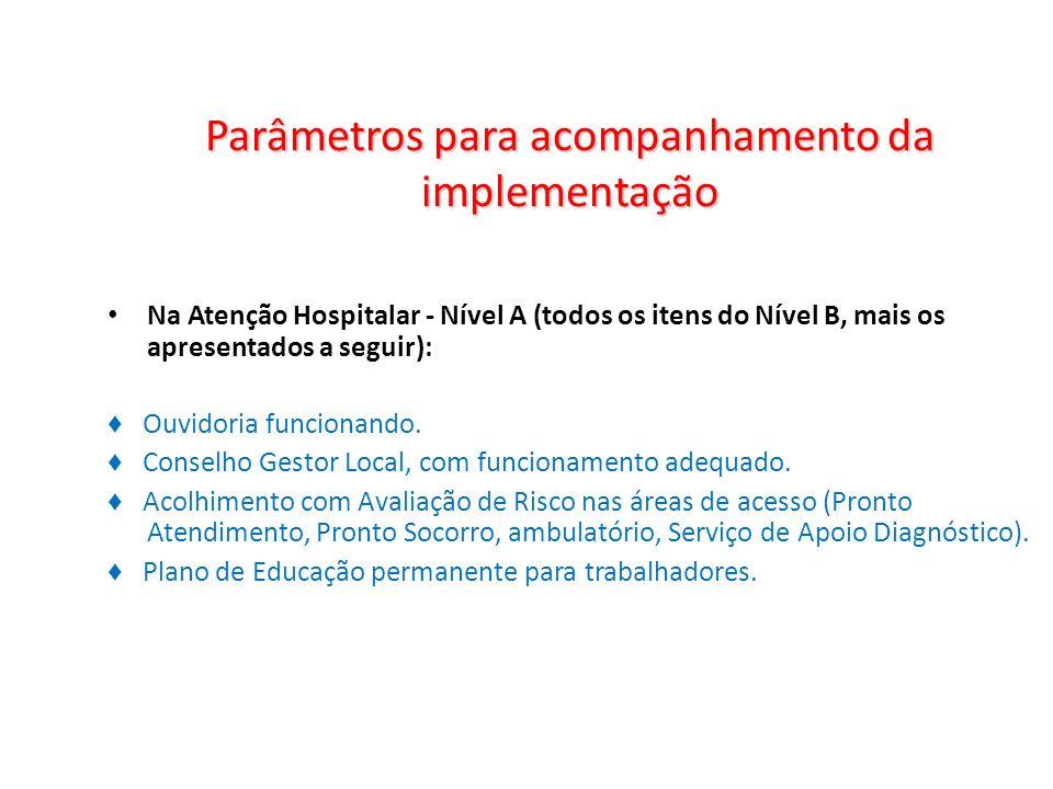 Parâmetros para acompanhamento da implementação Na Atenção Hospitalar - Nível A (todos os itens do Nível B, mais os apresentados a seguir): Ouvidoria