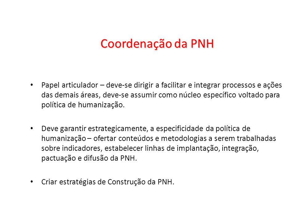 Coordenação da PNH Papel articulador – deve-se dirigir a facilitar e integrar processos e ações das demais áreas, deve-se assumir como núcleo específi