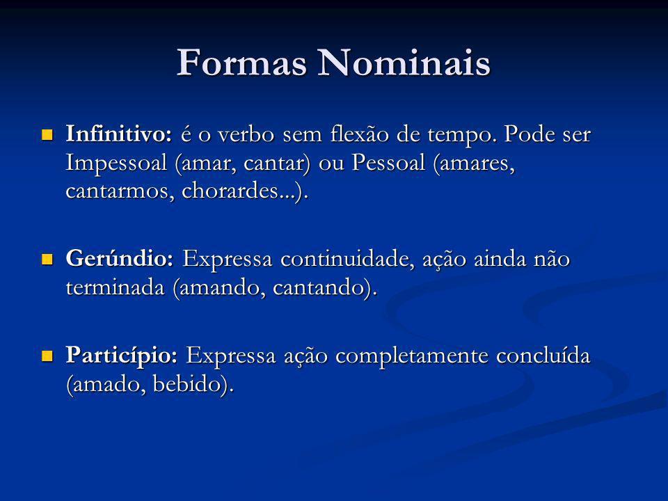 Formas Nominais Infinitivo: é o verbo sem flexão de tempo. Pode ser Impessoal (amar, cantar) ou Pessoal (amares, cantarmos, chorardes...). Infinitivo: