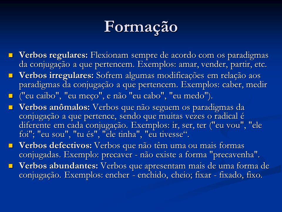 Formação Verbos regulares: Flexionam sempre de acordo com os paradigmas da conjugação a que pertencem. Exemplos: amar, vender, partir, etc. Verbos reg