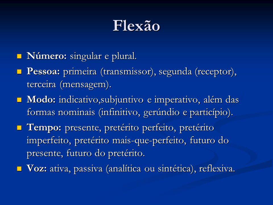 Flexão Número: singular e plural. Número: singular e plural. Pessoa: primeira (transmissor), segunda (receptor), terceira (mensagem). Pessoa: primeira