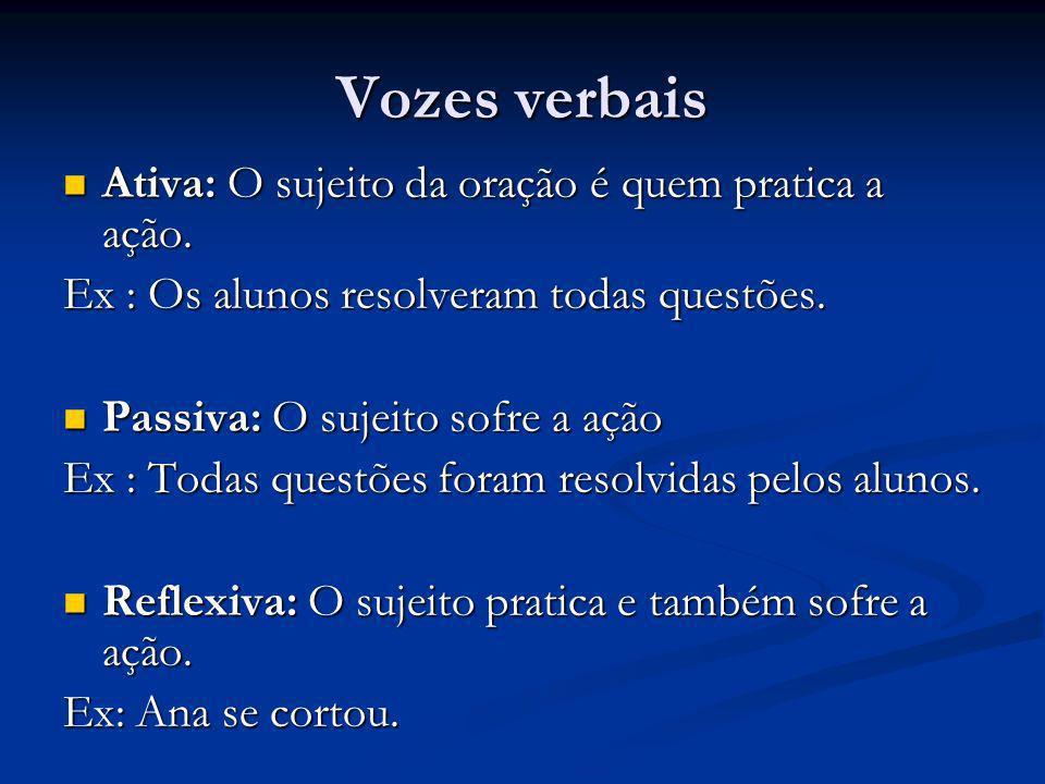 Vozes verbais Ativa: O sujeito da oração é quem pratica a ação. Ativa: O sujeito da oração é quem pratica a ação. Ex : Os alunos resolveram todas ques