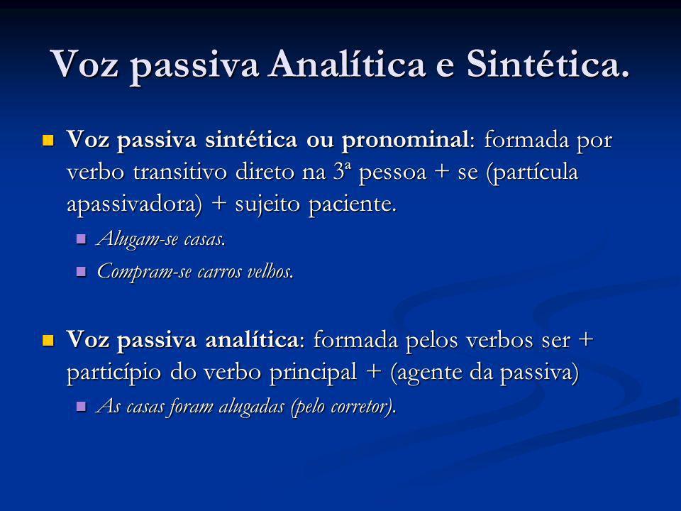 Voz passiva Analítica e Sintética. Voz passiva sintética ou pronominal: formada por verbo transitivo direto na 3ª pessoa + se (partícula apassivadora)