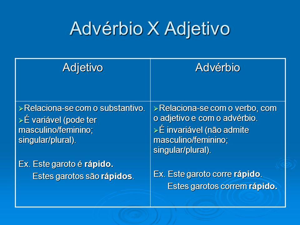 AdjetivoAdvérbio Relaciona-se com o substantivo. Relaciona-se com o substantivo. É variável (pode ter masculino/feminino; singular/plural). É variável