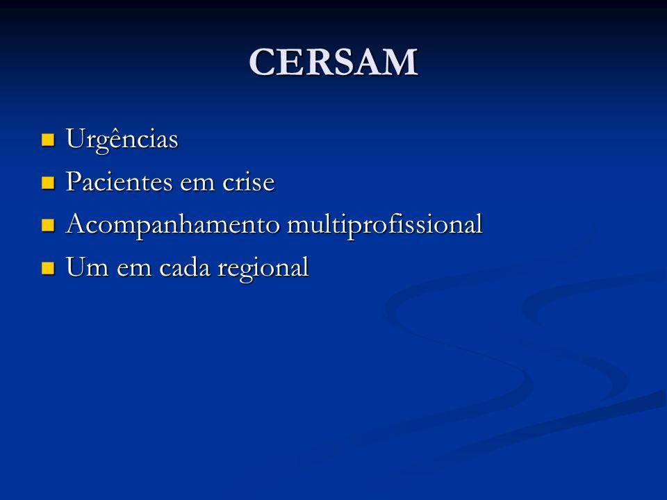 CERSAM Urgências Urgências Pacientes em crise Pacientes em crise Acompanhamento multiprofissional Acompanhamento multiprofissional Um em cada regional