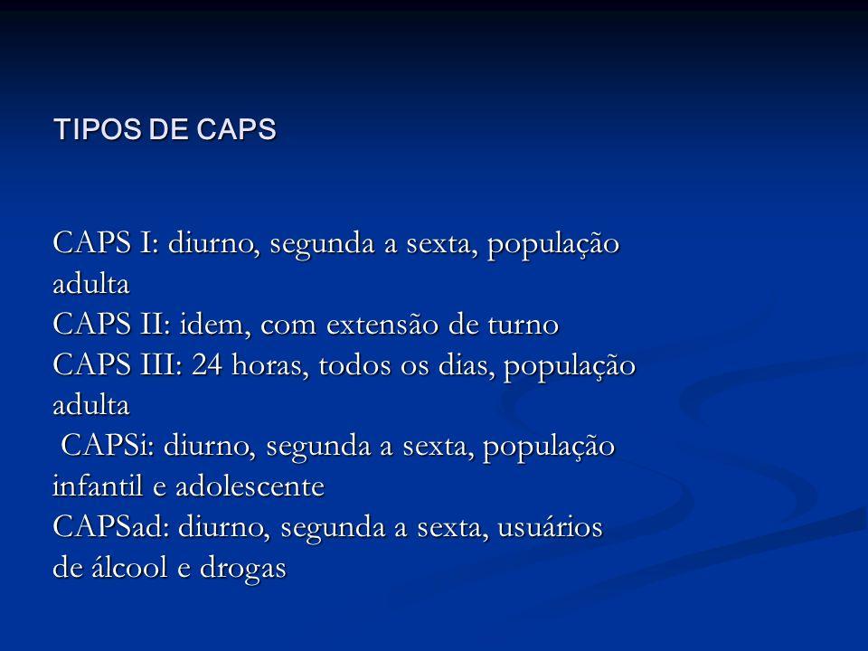 CAPS I: diurno, segunda a sexta, população adulta CAPS II: idem, com extensão de turno CAPS III: 24 horas, todos os dias, população adulta CAPSi: diur
