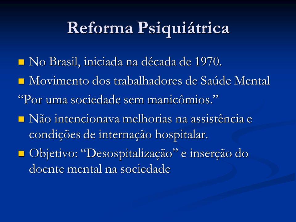 Reforma Psiquiátrica No Brasil, iniciada na década de 1970. No Brasil, iniciada na década de 1970. Movimento dos trabalhadores de Saúde Mental Movimen